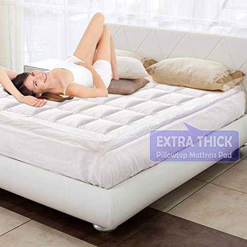 """YESINDEED . Pillowtop Mattress Pad Cooling Cover, Topper with Fitted Skirt, Snow Down Alternative Fill, 8-21"""" Deep Pocket - Pillow top Queen"""