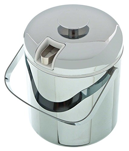 (Update International IB-130C Chrome Plated Ice Bucket with Built in Tong Holder, 44-Ounce)