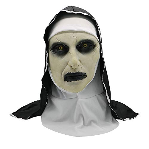 Halloween Mask Scary Conjuring Devil Nun Horror Masks Latex Costume Cosplay Tricky Toy Mask for Best Halloween Decoration and Spookiest Graveyard Scene (A)