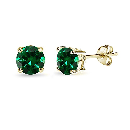 (Yellow Gold Flashed Sterling Silver Simulated Emerald 6mm Round-Cut Solitaire Stud Earrings)