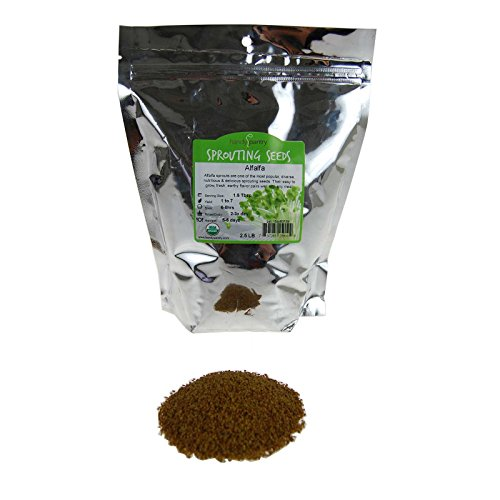 Certified Organic Alfalfa Sprouting Seed- 2.5 Lbs - Handy Pantry Brand - High Sprout Germination- Gardening, Growing Salad Sprouts, Planting, Food Storage & More Certified Organic Alfalfa Seeds