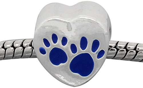Buckets of Beads Love Heart Dog Paws Charm Bead Fits Pandora Troll Biagi Zable, Blue Heart Zable Bead