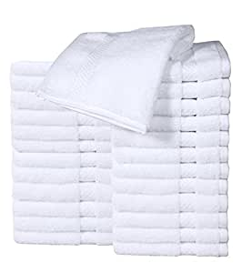 "HomeLabels Cotton Washcloth Towel Set (24 Pack, White, 12""x12"") Multi-purpose rags, Soft Fingertip towels, Absorbent Face Cloths, Machine Washable Sport, and Workout Towels"