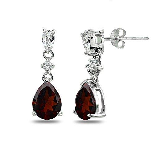 Cut Garnet Dangling Earrings - Sterling Silver Garnet & White Topaz Pear-Cut Teardrop Dangling Stud Earrings