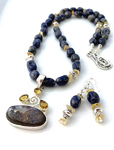 Natural Brown and Milky Blue BOULDER OPAL and CITRINE 925 Sterling Silver 1.8' Pendant on SODALITE and Citrine Gemstones Beaded Necklace (19.5' Long) with Matching Earrings.