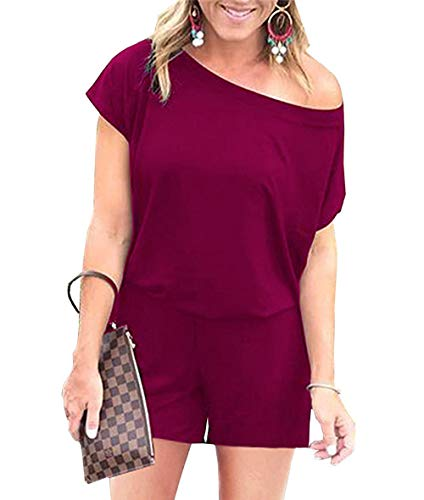 - Women's Jumpsuits - Crewneck One Off Shoulder Short Sleeve Elastic Waist Romper Playsuits with Pockets