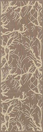 Unique Loom Outdoor Botanical Collection Abstract Pictorial Transitional Indoor and Outdoor Flatweave Brown  Runner Rug (2' x 6')
