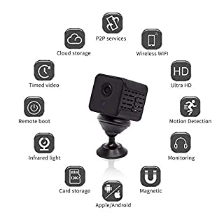 Mini Hidden cam,HD 1080P Wireless Nanny Cams with Cell Phone App,Support iOS/Android,Night Vision and Motion Detection Remote Monitoring-Security for Indoor,Home,Office