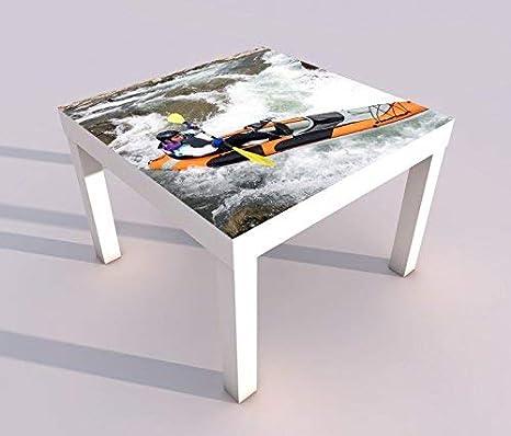 Design - Tisch mit UV Druck 55x55cm Kajak kanu fahren rafting rafter Spieltisch Lack Tische Bild Bilder Kinderzimmer Mö bel 18A1260, Tisch 1:55x55cm myDruck-Store