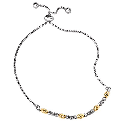 Rhodium-Plated .925 Silver Diamond-Cut Beaded Slider Bracelet with 14k Plated Accent Beads- 3.5 IN-8.5 (Element Jewelry Bracelet)