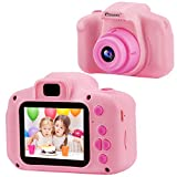 Prograce Kids Camera Children Digital Cameras for Girls Birthday Toy Gifts 4-12 Year Old Kid Action Camera Toddler Video Recorder 1080P IPS 2 Inch