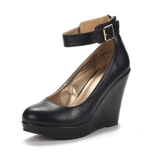 (DREAM PAIRS Women's ASH-22 Black Pu Mary Jane Round Toe Platform Fashion Wedges Pumps Shoes Size 7 US)