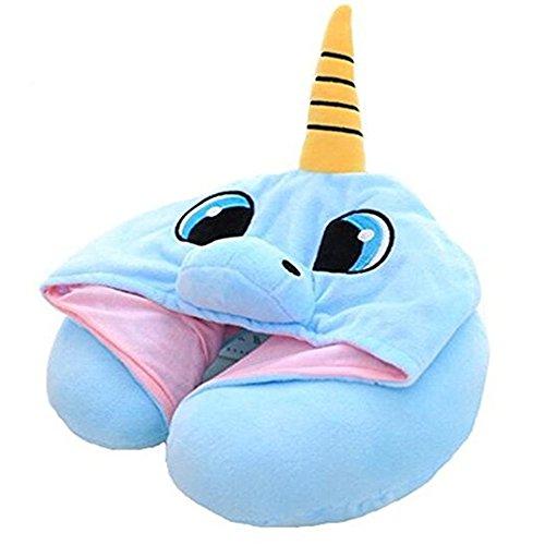 PAPAIT Creative Adorable Cap Pillow, Cartoon U Type Hooded Pillow, Neck Pillow, Office Nap, Cervical Vertebra, Airplane Travel Pillow (Blue)