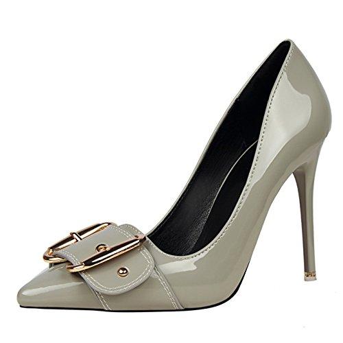 OALEEN Chaussures Vernis Escarpins Talon Pointu Elégant Aiguille Boucle Gris Grande Haut Bout Femme Soirée f0fw1xB