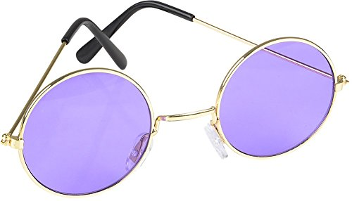 Rhode Island Novelty Round Color Lens Sunglasses | 1 Pair of Purple Glasses]()