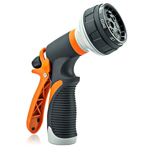 Garden Hose Nozzle Hand Sprayer | Heavy Duty 8 Adjustable Watering Patterns – High Pressure Flow Control Setting Knob – Ideal for Watering Plants, Car Wash, Cleaning, Watering Lawn and Washing Pets