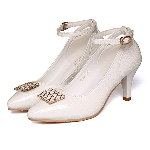 Yukun zapatos de tacón alto Shallow Mouth Autumn Shoes Women's High-Heeled Shoes with A Buckle and Stiletto Work with Women's Shoes White