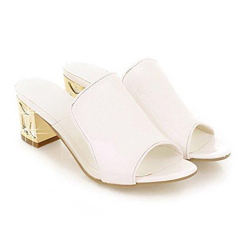 VogueZone009 Mujetes Puntera Abierta Tacón ancho Sólido Sandalias de vestir con Diamante Blanco