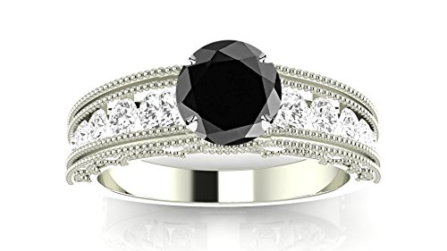 (Platinum Antique/Vintage Style Channel Set Round Diamond Engagement Ring with Milgrain with a 3 Carat Black Diamond Heirloom Quality)