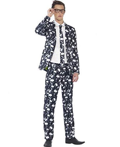 Smiffy's Men's Petite Teen Skeleton Suit, Black & White S ()