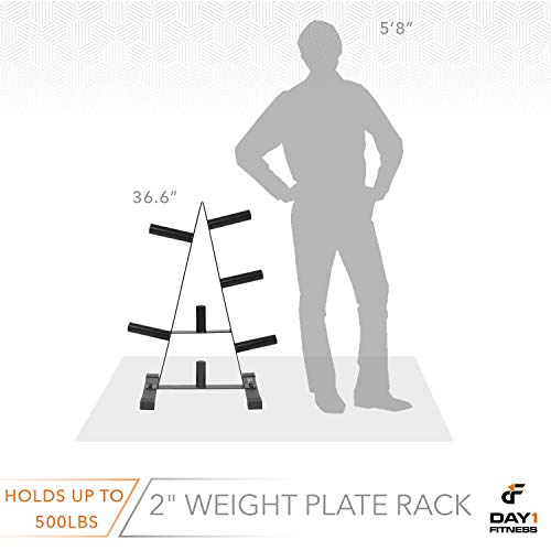 "Olympic Weight Plate Rack, Holds up to 500lb of 2"" Weights by D1F - Black Weight Holder Tree with 7 Branches for Stacking and Storing High Capacity Weights- Heavy-Duty, Durable Triangle Plate Racks by Day 1 Fitness (Image #2)"