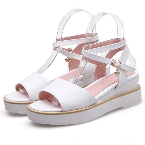 Femmes Sangle Croisee White Sandales Mode TAOFFEN 0Unz480