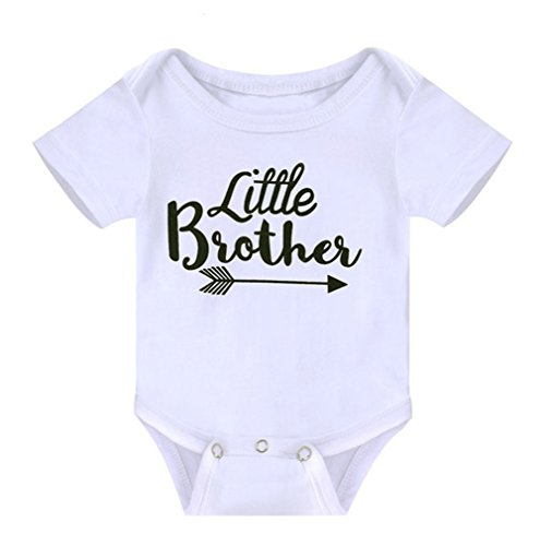 Toddler Girls Big Sister T Shirt Matching Little Brother Baby Bodysuits White (0-6M, Little brother)