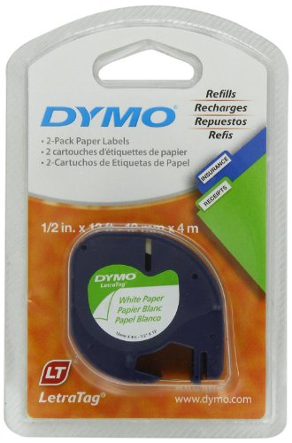 Dymo 10697 1/2in X 13ft Letratag White Paper Tape (2-Tapes)