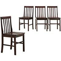 Walker Edison Espresso Wood Dining Chairs, Set of 4