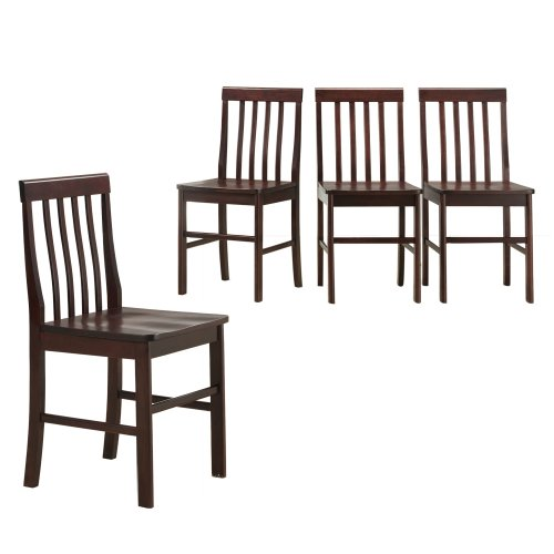 Amazon.com: Walker Edison Espresso Wood Dining Chairs, Set of 4 ...