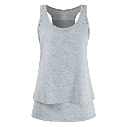 Haluoo Women's Nursing Tank Top Sleeveless Double Layer Racerback Cami Tops Maternity Breastfeeding Shirts (Small, Gray)