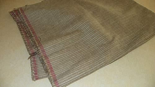FidgetGear Beige Gray Stripe Print Chenille Upholstery Fabric Remnant 1 Yard F591 Show One Size