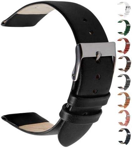 Wildery Echt Leder Uhrenarmband Und Smartwatcharmband Für 22mm Stegbreite Mit Federstegen Und Edelstahl Dornschließe Für Herren Und Damen In 10 Farben 22mm Schwarz Uhren