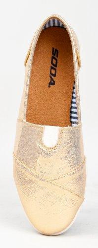 Soda Women Object Flats-Shoes Gold