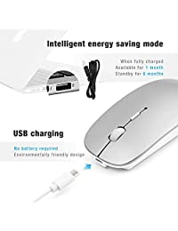 ANEWKODI Bluetooth Wireless Mouse,Rechargeable Mouse,Ultra-Thin Noiseless Click,3 Adjustable DPI Level,Wireless Mouse for Laptop,Tablet,Silver