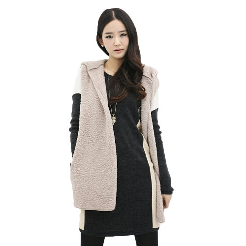 Furry Grey Dark Hooded Imixcity®Women's Jacket Long Vest zxqxwdS
