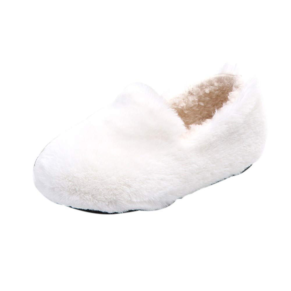 PrettyW New, Kid Cute Fashion Shoes, Child White Warmer Flock Soft Soles Slipper (White, US-10) by PrettyW (Image #1)