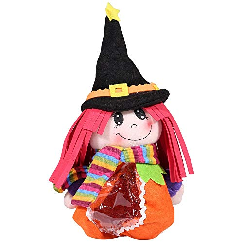 LXY Creative Halloween Pumpkin Doll Transparent Gift Bag Environmental Protection Home Decoration (Color : Red Hair Witch)]()