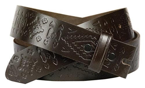 Western Embossed Belt for Buckles 100% Top Grain One Piece Leather, Made in USA,brown,XL
