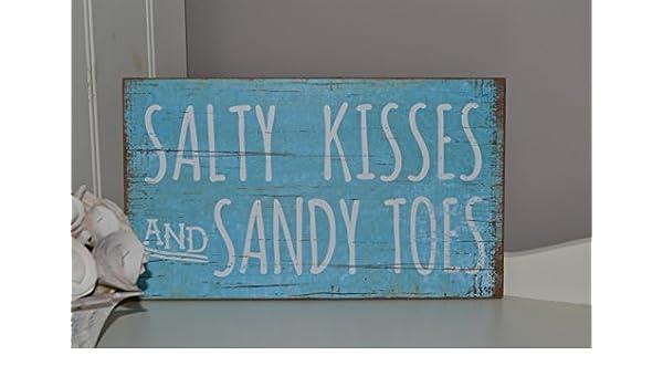 Hunky Dory Sandy Dedos y Salado Besos Retro Caseta de Playa Mar náutico de la Muestra de Madera: Amazon.es: Hogar