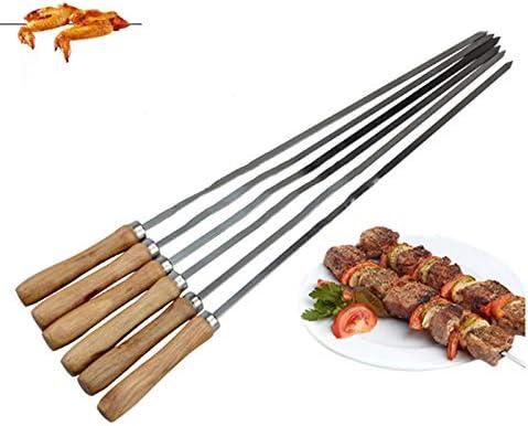 SNOWINSPRING Kebab BBQ Brochettes en Acier Inoxydable avec PoignéEs en Bois Plat Batons de Brochettes en MéTal RéUtilisables avec Pochette de Rangement 6 Pcs