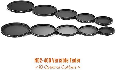 Rakuby 49mm 超薄型 可変フェーダー ND2-400 ニュートラル濃度 NDフィルター 調節可能 ND2 ND4 ND8 ND16 ND32〜ND400 Sony NEX 18-55mmレンズ用