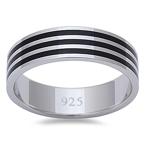 Men's 3 Stripe Simulated Black Onyx Fashion Engagement 6MM Band .925 Sterling Silver Ring Size 9