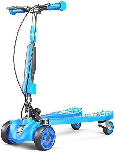 キックスクーター 子供のカエルのスクーター3-12歳四輪のFlashスライドはさみ車音楽スクーター高さ調節 キックスクーターアダルト (色 : C1, Size : 75.5X28.5x22CM)