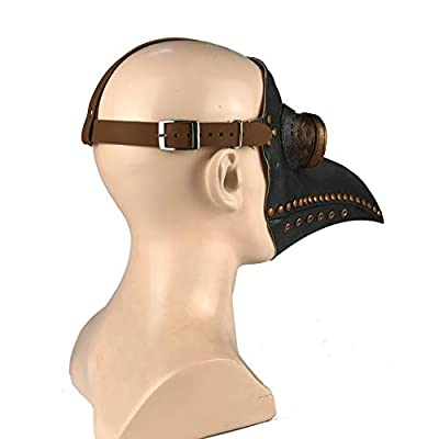 Plague Doctor Mask,Black Bird Beak Steampunk Costume Halloween Cosplay Party Prop Bird Mouth Mask in PU Leather (Edition 5): Clothing
