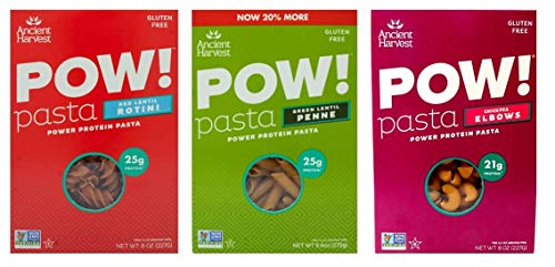 Ancient Harvest Gluten-Free POW! Pasta 3 Flavor Variety Bundle, 1 aach: Red Lentil Rotini, Green Lentil Penne, Chickpea Elbows (8-9.6 Ounces)