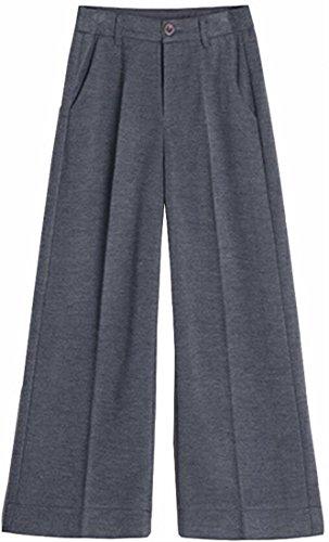 today Leg Wool Waist High Dark Pants Wide Blend UK Grey Warm Ankle Women Casual rSqnrIZ1