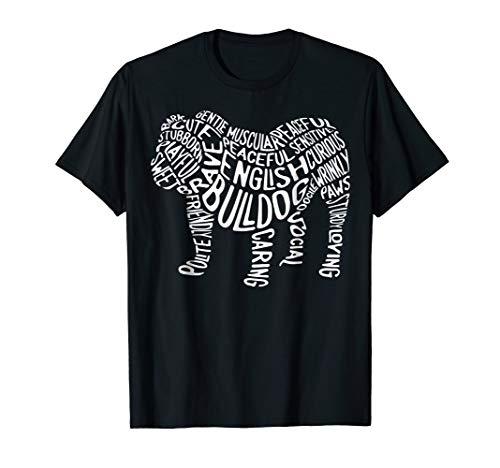 English Bulldog Typography T shirt Word Art Funny Dog ()