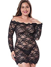 LINGERLOVE Womens Plus Size Sexy Lingerie Chemise Floral Lace Babydoll See Though Bodysuit