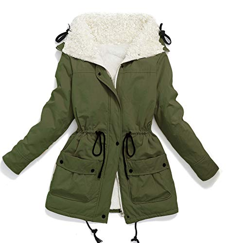 Faux Sheep Curl Collar Fleece Parkas Plus Size Sherpa Lined Jacket Coat Army Green M ()